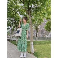Dress Summer 2021 longuette Short sleeve singleton  street Design and color V-neck Condom routine 21E1002 LIVAS VILLAGE 1,2,3 Green print, black print