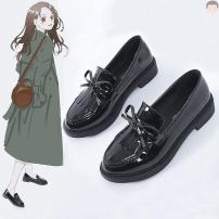 Low top shoes 35,36,37,38,39,40 Other / other Black tassel, black smooth plate button Round head PVC chemical fiber Flat bottom Flat heel (1cm or less) Deep mouth Two layer pigskin Spring 2021 Frenulum Korean version rubber T-strap  bow
