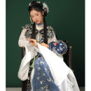 Hanfu 96% and above Winter 2020 Cloud shoulder ribbon stand collar gown butterfly horse face skirt S M L XL polyester fiber