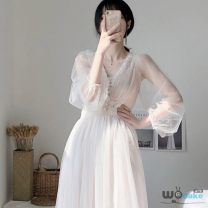 Dress Summer of 2019 Apricot, bluish grey, pink S,M,L,XL Mid length dress Two piece set Long sleeves Sweet V-neck High waist Broken flowers Socket A-line skirt Princess sleeve camisole Type H Mesh, lace, stitching H53147 51% (inclusive) - 70% (inclusive) other Mori