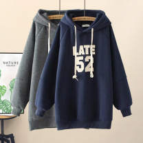 Women's large Winter 2019, spring 2019, autumn 2019 Navy, dark grey, green Big 2XL [145 Jin up and down], big 3XL [165 Jin up and down], big 4XL [185 Jin up and down] Sweater / sweater singleton  commute easy thick Socket Long sleeves Solid color, letter Korean version Hood Medium length Make old