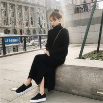 Dress Winter of 2018 Black, white S,M,L longuette singleton  Long sleeves commute High collar High waist Solid color Socket other routine Others 18-24 years old Type H Korean version thread 31% (inclusive) - 50% (inclusive) knitting cotton
