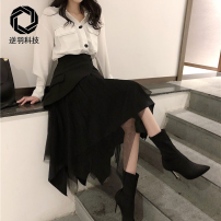 skirt Spring 2021 S. M, l, XL, customized contact customer service black Mid length dress Irregular Solid color Type A Please consult customer service for details Other / other