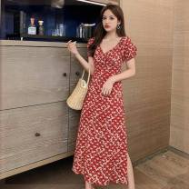 Dress Summer 2020 Yellow, red S,L,M longuette singleton  Short sleeve commute V-neck middle-waisted Broken flowers Socket One pace skirt bishop sleeve Others Type A Korean version printing NEHZRZ Chiffon