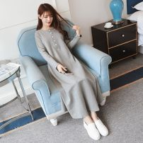 Dress Winter 2016 Light gray (spring and Autumn), treasure blue (spring and Autumn), light gray (plush), treasure blue (plush) M,L,XL,2XL Long sleeves other Other
