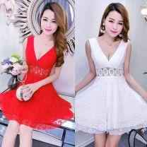 Dress Spring 2020 Black, white, blue, red S,M,L,XL Short skirt singleton  Sleeveless commute V-neck High waist other other Type A Lace