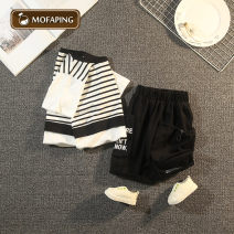suit Magic bottle (costume) white 90cm 100cm 110cm 120cm 130cm 140cm 150cm male summer Korean version Short sleeve + pants 2 pieces Thin money No model Socket nothing stripe Cotton blended fabric children Giving presents at school CTX stripe fake two piece set Cotton 90% other 10% Summer 2021
