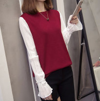 T-shirt Apricot, Burgundy, black XL [recommended 100-130 kg], 2XL [recommended 125-150 kg], 3XL [recommended 150-175 kg], 4XL [recommended 175-200 kg] Autumn 2020 Long sleeves Crew neck easy bishop sleeve commute other 86% (inclusive) -95% (inclusive) Korean version Solid color, stitching