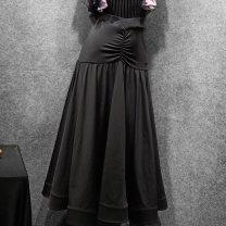 Modern dance bottom female See Fanyu again Black [bottomless] S M L XL skirt Waltz Tango Foxtrot T023 Cotton polyester Autumn of 2019