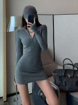 Dress Autumn 2020 Dark grey, black Average size Short skirt singleton  Long sleeves commute V-neck High waist Solid color Socket One pace skirt routine Others 18-24 years old Type H Other / other Retro 1019c 71% (inclusive) - 80% (inclusive) knitting cotton