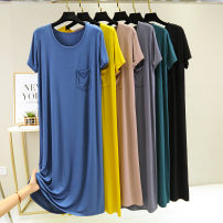 Nightdress Other / other Ginger, black, denim blue, ash, dark green, light coffee 165(L),170(XL) Simplicity Short sleeve Leisure home longuette summer Solid color youth cotton