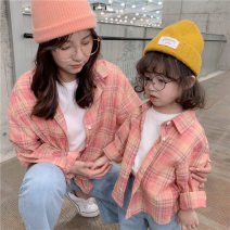 Parent child fashion Yellow pink Women's dress neutral Hello Memory 80cm 90cm 100cm 110cm 120cm 130cm mom s mom m mom L CS spring and autumn Korean version routine lattice shirt other L M S Other 100% Class B Spring 2020 Chinese Mainland
