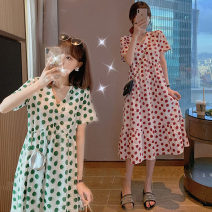 Dress Other / other Red, green M,L,XL,XXL Korean version Short sleeve have more cash than can be accounted for summer V-neck Dot Chiffon