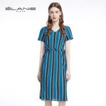 Dress Summer 2020 Blue and black stripes S,M,L,XL Middle-skirt singleton  Short sleeve commute V-neck High waist stripe Socket routine Others 30-34 years old Simplicity Drawstring EZ1TC1252L More than 95% Chiffon polyester fiber