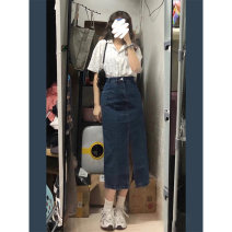 skirt Spring 2021 S M L XL Skirt top + skirt suit longuette commute High waist A-line skirt Solid color Type A 18-24 years old BN8851 71% (inclusive) - 80% (inclusive) Denim Bei Ziting cotton pocket Retro Cotton 80% polyester 20%
