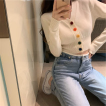 sweater Autumn 2020 Average size White, pink, black Long sleeves Cardigan singleton  have cash less than that is registered in the accounts Viscose 51% (inclusive) - 70% (inclusive) V-neck Regular Sweet Self cultivation Keep warm and warm 18-24 years old Button