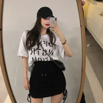 T-shirt White top, black top, grey skirt, black skirt Average size Summer 2021 Short sleeve Crew neck easy Medium length routine commute cotton 31% (inclusive) - 50% (inclusive) 18-24 years old Korean version youth letter Other / other printing