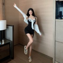 Dress Summer 2021 Check bra, strap skirt, knitted cardigan Average size Short skirt other Sleeveless commute other High waist Solid color other other routine camisole 18-24 years old Type A Korean version 51% (inclusive) - 70% (inclusive) other cotton