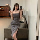 Dress Summer 2021 Gray, black Average size Middle-skirt singleton  Sleeveless commute One word collar High waist Solid color Socket 18-24 years old Other / other Korean version
