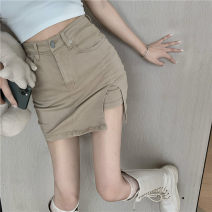 skirt Summer 2020 S,M,L Khaki, dark grey Short skirt commute High waist other Solid color 18-24 years old Korean version