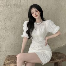 Dress Summer 2021 White, black S,M,L Short skirt singleton  Short sleeve commute Crew neck High waist Solid color Socket other puff sleeve Others 18-24 years old Other / other Korean version fold 305#