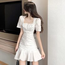 Dress Summer 2021 white S,M,L Short skirt singleton  Short sleeve commute square neck High waist Solid color Socket Ruffle Skirt routine Others 18-24 years old Other / other Korean version Bandages, folds, ruffles