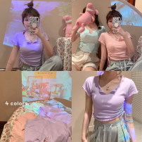 T-shirt Light purple, light green, gray, pink Average size Spring 2021 Short sleeve V-neck Self cultivation have cash less than that is registered in the accounts routine commute polyester fiber 51% (inclusive) - 70% (inclusive) 18-24 years old Korean version Solid color