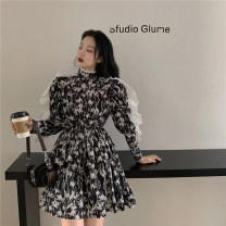 Dress Spring 2021 Picture color Average size Short skirt singleton  Long sleeves commute High collar High waist other Socket other routine Others 18-24 years old Korean version 8821#