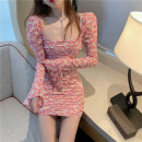Dress Spring 2021 Picture color S, M Short skirt singleton  Long sleeves commute square neck High waist Broken flowers Socket other pagoda sleeve Others 18-24 years old Other / other Korean version Print, open back 8005#