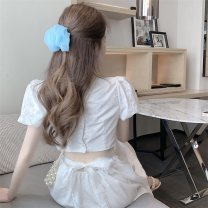 Dress Spring 2021 Picture color S, M Mid length dress singleton  Short sleeve commute Crew neck High waist Solid color Socket other puff sleeve Others 18-24 years old Other / other Korean version Backless, hollow out, bandage, lace, stitching, bowknot five thousand four hundred and seventy-eight