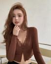 T-shirt Brown, brick red Average size Spring 2021 Long sleeves V-neck Self cultivation have cash less than that is registered in the accounts routine commute polyester fiber 51% (inclusive) - 70% (inclusive) 18-24 years old Korean version Solid color Other / other Lace, stitching, buttons