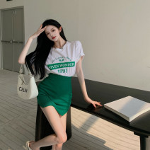 skirt Summer 2021 S. M, average size White top, green skirt Short skirt commute High waist skirt Solid color Type A 18-24 years old 5199# 51% (inclusive) - 70% (inclusive) other Other / other cotton Asymmetry, splicing Korean version