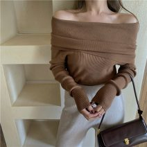 sweater Spring 2021 Average size Apricot, black, coffee Long sleeves Socket singleton  Regular other 95% and above One word collar Regular commute routine Solid color Self cultivation 18-24 years old 99949# fold