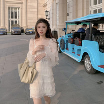 Dress Spring 2021 white S, M Short skirt singleton  Long sleeves commute square neck High waist Solid color Socket Cake skirt routine Others 18-24 years old Other / other Korean version Lace, stitching, mesh, bow, backless Chiffon polyester fiber