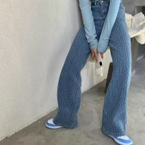 Jeans Spring 2021 T-shirt, pants S. M, l, average size trousers High waist Wide legged trousers routine 18-24 years old other Heavy denim light colour 99527# Other / other 51% (inclusive) - 70% (inclusive)