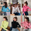 T-shirt White, black, light pink, rose pink, water blue, yellow green Average size Spring 2021 Long sleeves High collar Self cultivation Regular routine commute polyester fiber 51% (inclusive) - 70% (inclusive) 18-24 years old Korean version Solid color