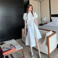 Dress Spring 2021 White, Navy S,M,L Mid length dress singleton  Short sleeve commute stand collar High waist Solid color Socket Irregular skirt puff sleeve Others 18-24 years old Other / other Korean version
