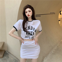 T-shirt White top, black top, white skirt, black skirt Average size Summer 2021 Short sleeve Crew neck Self cultivation have cash less than that is registered in the accounts routine commute other 51% (inclusive) - 70% (inclusive) 18-24 years old Korean version youth letter Other / other printing