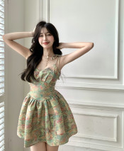Dress Summer 2021 Mixed color of oil painting S, M Short skirt singleton  Sleeveless commute High waist Socket camisole 18-24 years old Other / other Korean version 31% (inclusive) - 50% (inclusive) other