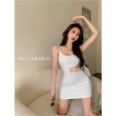 Dress Summer 2021 White, black S, M Short skirt singleton  Sleeveless commute Crew neck High waist Solid color Socket other other camisole 18-24 years old Other / other Korean version Hollowed out, bare back