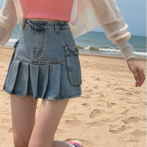 skirt Summer 2021 S,M,L Denim blue, black grey Short skirt commute High waist Pleated skirt Solid color Type A 18-24 years old Other / other Pockets, folds, buttons Korean version