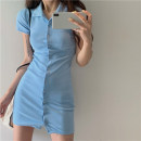 Dress Spring 2021 White, green, blue, black, pink Average size Short skirt singleton  Short sleeve commute Polo collar High waist Solid color Single breasted other routine Others 18-24 years old Other / other Korean version Button
