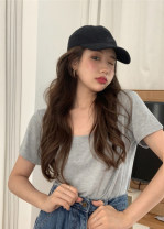 T-shirt Gray, white, black, pink Average size Spring 2021 Short sleeve Crew neck easy Regular routine commute cotton 30% and below 18-24 years old Korean version Solid color Other / other