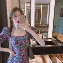 Dress Spring 2021 Picture color S,M,L Mid length dress singleton  Short sleeve commute square neck High waist Broken flowers Socket other puff sleeve Others 18-24 years old Other / other Korean version Print, open back