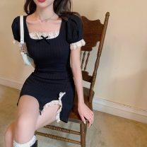 Dress Summer 2021 Knitted black skirt S, M Short skirt singleton  Short sleeve commute square neck High waist Solid color Socket Irregular skirt puff sleeve 18-24 years old Korean version Lace, stitching 9602#
