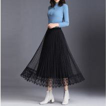 skirt Spring 2021 S suggests 80-100kg, m suggests 100-120kg, l suggests 120-130kg, XL suggests 130-140kg Black [on both sides], champagne [on both sides], peacock blue [on both sides] Mid length dress High waist A-line skirt Lace , Splicing , Embroidery