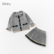 suit Elfairy grey 80cm 90cm 100cm 110cm 120cm female spring and autumn Korean version Long sleeve + skirt 2 pieces routine No model Single breasted nothing Solid color cotton EL306358 Cotton 100% Autumn 2020 6 months 12 months 9 months 18 months 2 years 3 years 4 years old Chinese Mainland Shaoxing