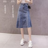skirt Summer 2020 S,M,L,XL blue Mid length dress Versatile High waist A-line skirt Solid color Type A 25-29 years old 0226-03 91% (inclusive) - 95% (inclusive) Denim Other / other polyester fiber Button