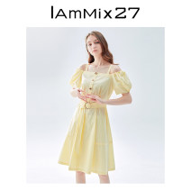 Dress Summer 2021 Cream yellow grey blue S M L XL Mid length dress singleton  Short sleeve Sweet square neck High waist Solid color Socket other bishop sleeve Others 25-29 years old Type X IAmMIX27 Button detachable shoulder strap M0B9040 51% (inclusive) - 70% (inclusive) other cotton princess