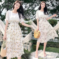Dress Summer 2021 Yellow flower, purple flower Mid length dress Two piece set Short sleeve other routine Type A Other / other 81% (inclusive) - 90% (inclusive) other
